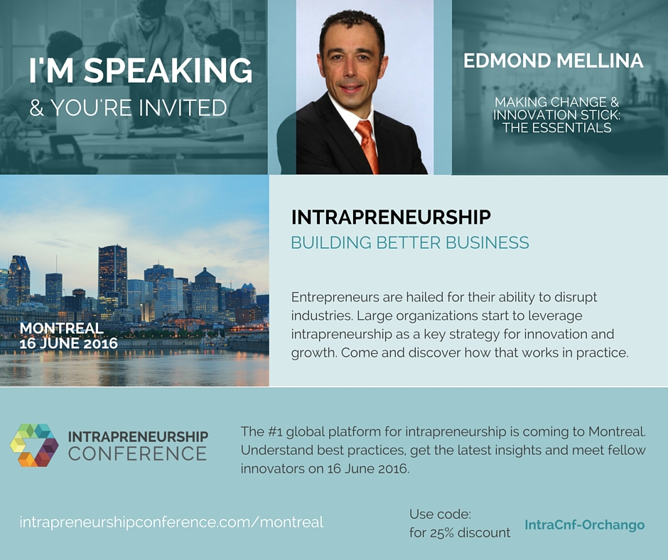 Discount Code Intrapreneurship Conference Montreal 2016