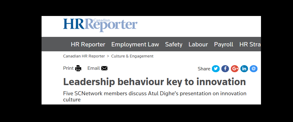 Interview For CHRR: Leadership Behaviour Key To Innovation